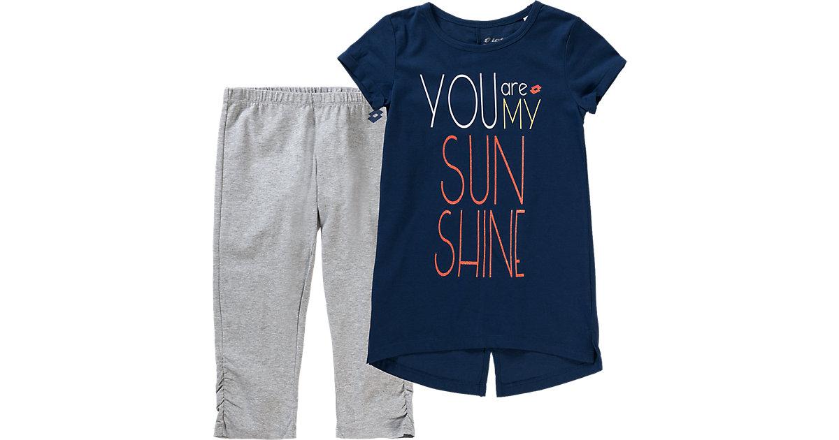 Set aus T-Shirt und Leggings grau/blau Gr. 128/140 Mädchen Kinder