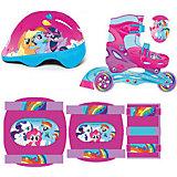 Роликовые коньки (раздвижные), с защитой и шлемом, My little Pony
