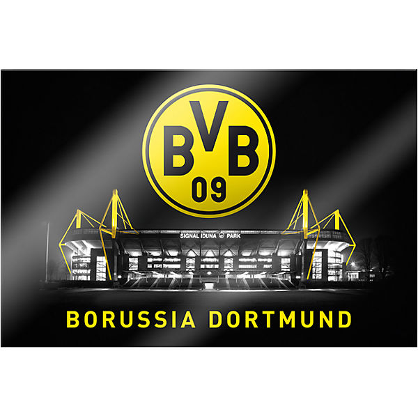wandbild bvb signal iduna park bei nacht acryl 150 x 100. Black Bedroom Furniture Sets. Home Design Ideas