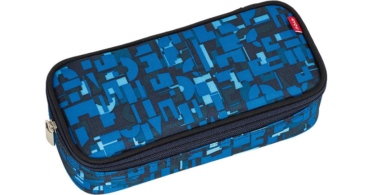Pencil Case mit Geodreieck Geometric Blue blau Jungen Kinder