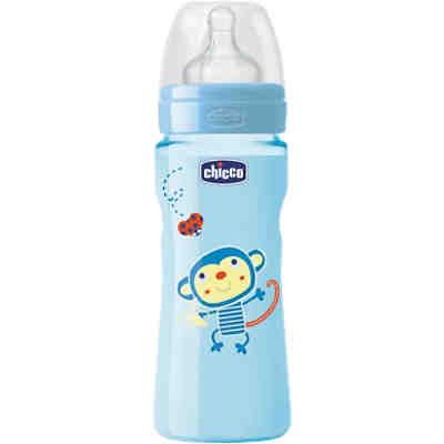 Weithals Flasche Well-Being, PP, Coloured, 330 ml, Silikonsauger, Gr. 3, boy