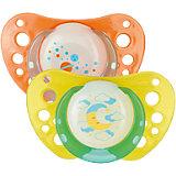 Schnuller Physio Air Lumi, Silikon, Gr.3, orange/gelb, 2er Pack