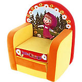 Мягкое кресло раскладывающееся Маша и Медведь, СмолТойс, желтый