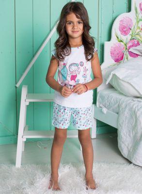 Пижама для девочки Sweet Berry - белый/зеленый