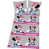 Kinderbettwäsche Minnie Mouse, Renforcé, grau, 135 x 200 cm