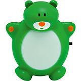 Ночник Медведь Зоо LED 0.5Вт, Ultra Light, зелёный