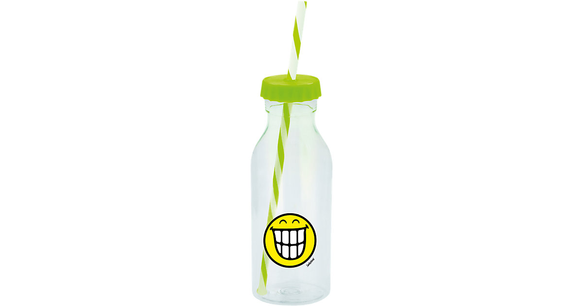 Smiley Sodaflasche mit Strohhalm, grün