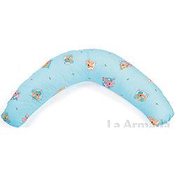 """Подушка для беременных """"Аура"""" 190х37 Сладкий сон c холлофайбером, La Armada, голубой"""