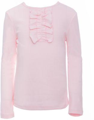 Футболка с длинным рукавом для девочки Белый снег - розовый