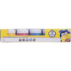 Пальчиковые краски со штампами (5 цветов), Play-Doh