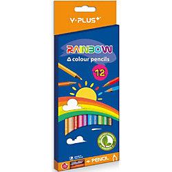 Набор цветных карандашей+точилка Y-Plus RAINBOW, 12 цв.