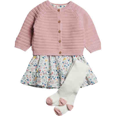 Baby Set Strickjacke + Kleid + Strumpfhose