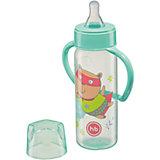 Бутылочка для кормления с ручками, 250 мл, Happy Baby, мятный
