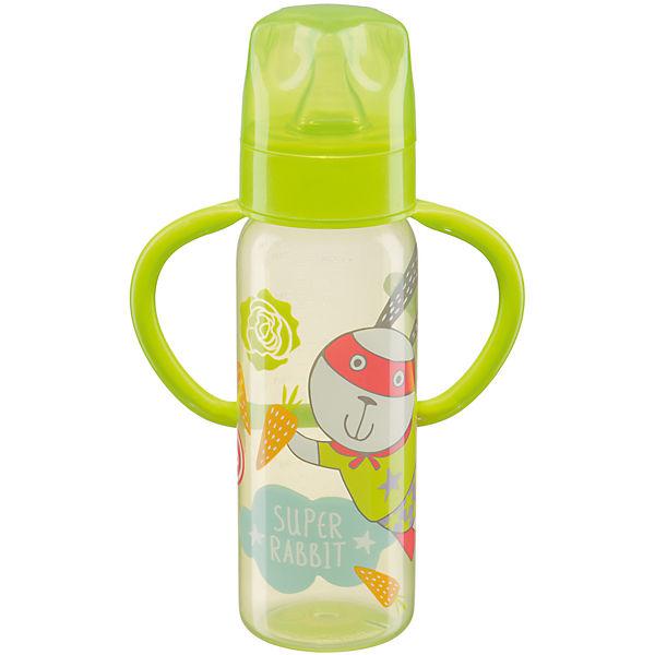 Бутылочка для кормления с ручками, 250 мл, Happy Baby, лайм