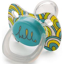 Соска-пустышка ортодонтической формы с колпачком, с 0 мес., Happy Baby, голубой