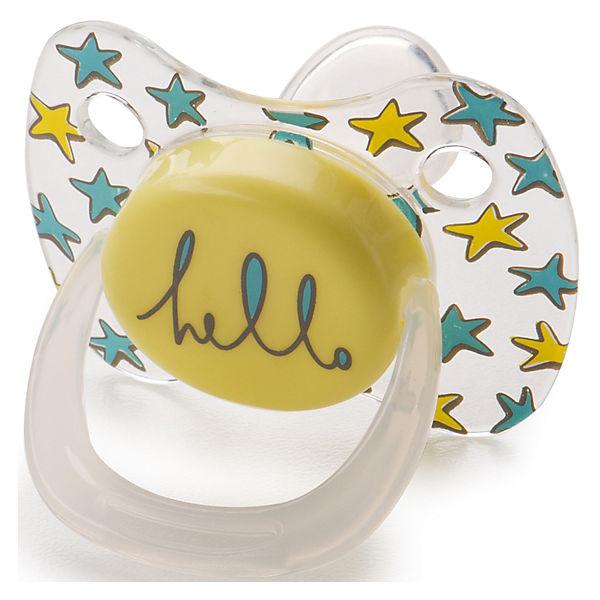 Соска-пустышка ортодонтической формы с колпачком, с 0 мес., Happy Baby, жёлтый
