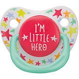 """Соска-пустышка ортодонтической формы с колпачком """"I am a hero"""", с 0 мес., Happy Baby"""
