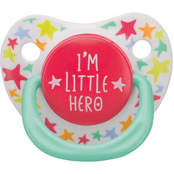 """Соска-пустышка ортодонтической формы с колпачком """"I am a hero"""", с 12 мес., Happy Baby"""