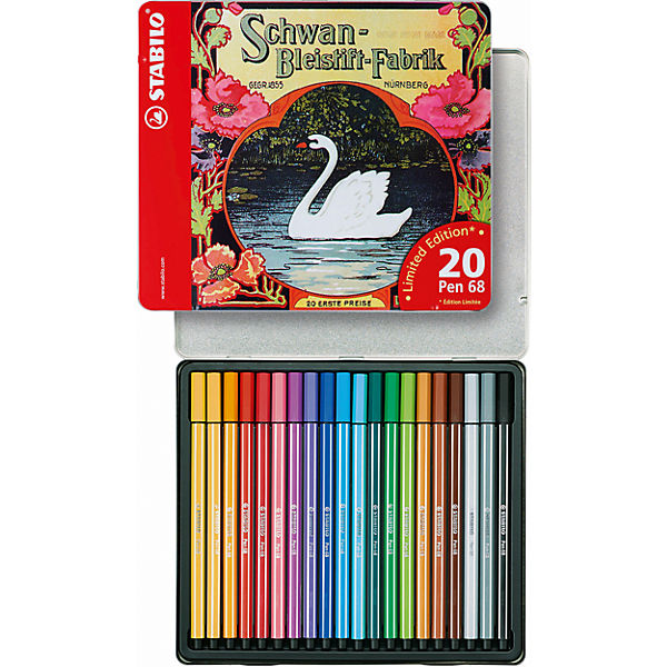 Filzstifte Pen 68 Schwan im Metalletui limited Edition, 20 Farben