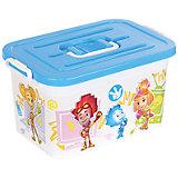 """Ящик для игрушек""""Фиксики"""", 10 л, бело-голубой"""