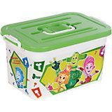 """Ящик для игрушек""""Фиксики"""", 10 л, бело-зеленый"""