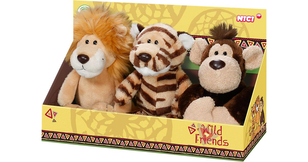 Wild Friends Geschenkset Plüsch Löwe + Affe + Tiger, 15cm