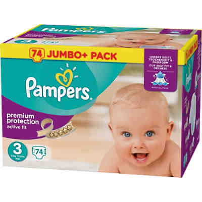 1x74 Stück Pampers Active Fit Gr.3 Midi 5-9kg Jumbo Plus Pack