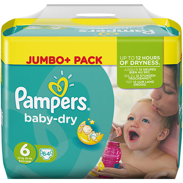 1x64 Stück Pampers Baby Dry Gr.6 Extra Large 15+kg Jumbo Plus Pack