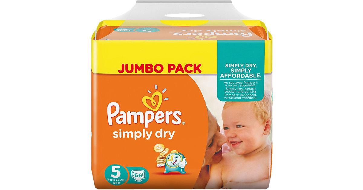 1x66 Stück Pampers Simply Dry Gr.5 Junior 11-25kg Jumbo Pack Gr. 11-25 kg