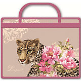 """Папка для тетрадей """"Леопард и цветы"""", А4"""