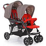 Прогулочная коляска для двойни Baby Care Tandem, серый/красный