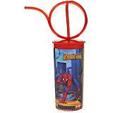 Стакан с витой соломинкой и крышкой (330 мл), Человек-Паук