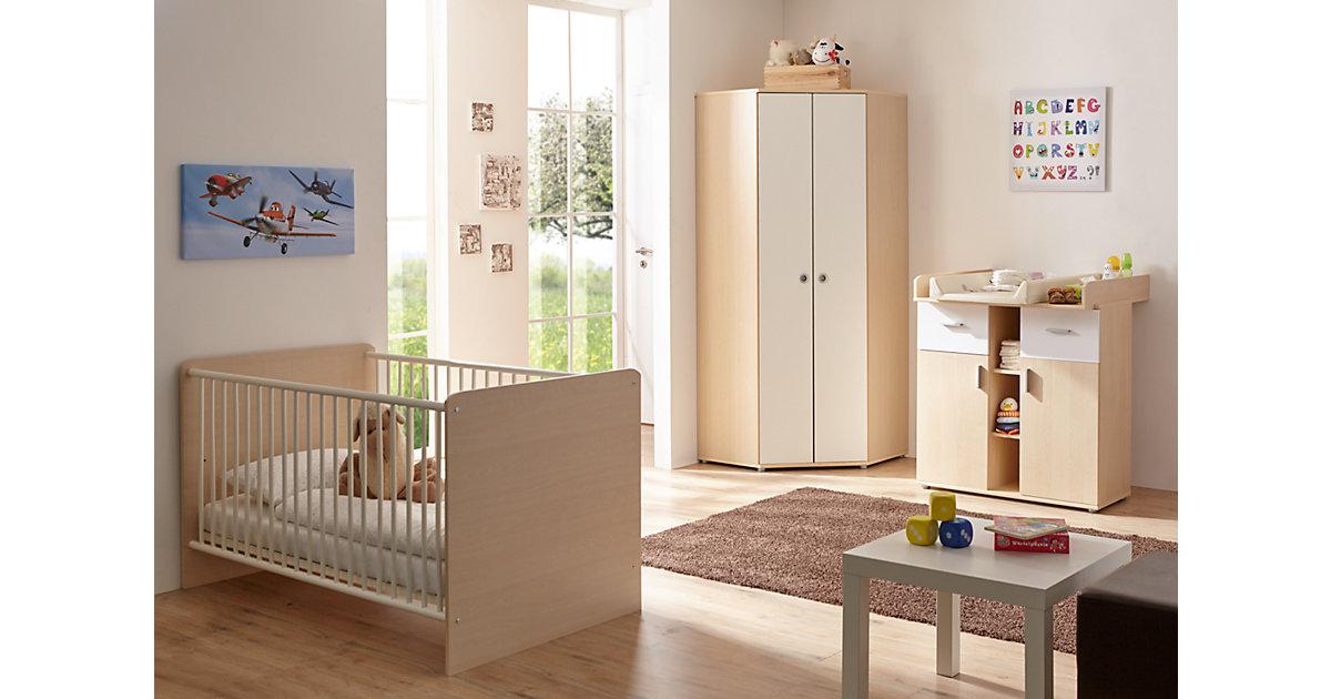 Komplett Babyzimmer Wicky, 3-tlg., Ahorn-weiß kolonial Gr. 70 x 140