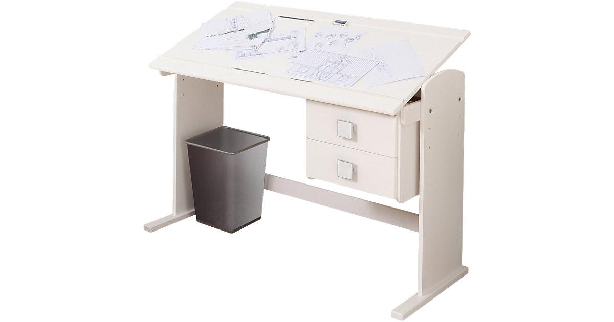 Funktions- Schreibtisch, Kiefer massiv weiß