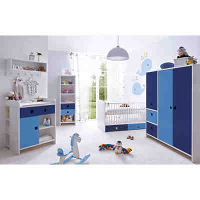 Babyzimmer in Blau mit weißen Stickern aufkleben