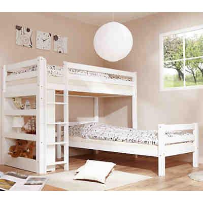 etagenbett beni l form mit regal buche massiv natur 2 x 90 x 200 cm relita mytoys. Black Bedroom Furniture Sets. Home Design Ideas