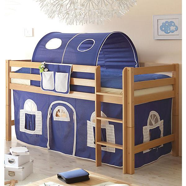 hochbett timmy g buche massiv natur blau wei ticaa. Black Bedroom Furniture Sets. Home Design Ideas