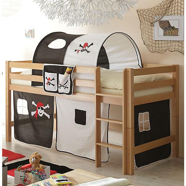 hochbett timmy g buche massiv natur pirat schwarz wei. Black Bedroom Furniture Sets. Home Design Ideas