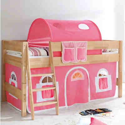 hochbett kenny g buche massiv natur rosa wei ticaa. Black Bedroom Furniture Sets. Home Design Ideas