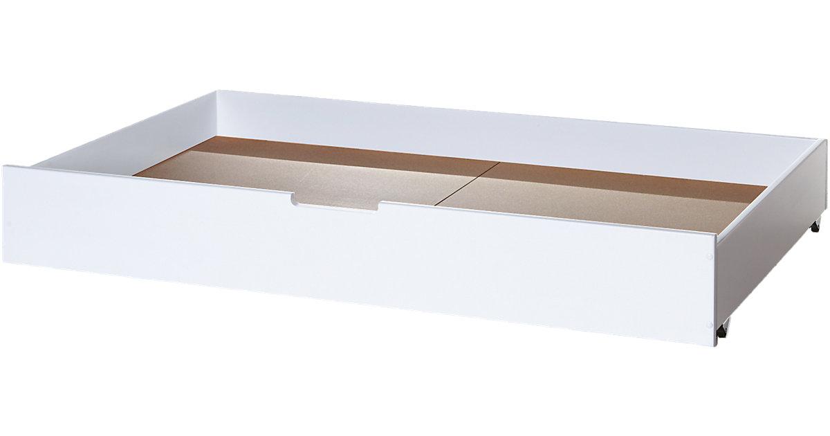 Bett- Schubkasten, 145 x 90cm, Buche massiv, weiß Gr. 90 x 200
