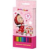Цветные карандаши, 24 цв., Маша и Медведь