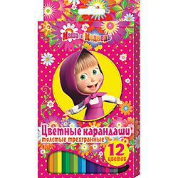 Цветные карандаши, 12 цв., Маша и Медведь