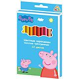 Цветные карандаши, 12 цв., Свинка Пеппа