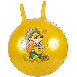 Надувной мяч Ежик, с насосом, 38см, желтый, SPRING