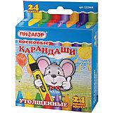 Восковые утолщенные карандаши, 24 цв., Пифагор