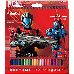 "Цветные карандаши ""Star Patrol"", 24 цв., Brauberg"