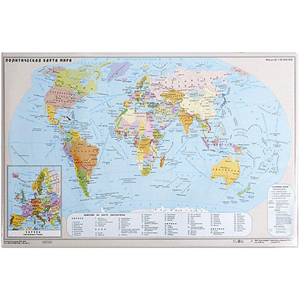 Настольный коврик-подкладка для письма с картой мира