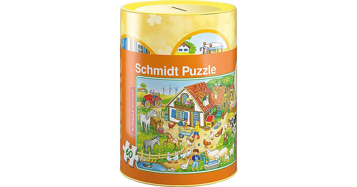 Bauernhof, Puzzle in der Spardose, 60 Teile