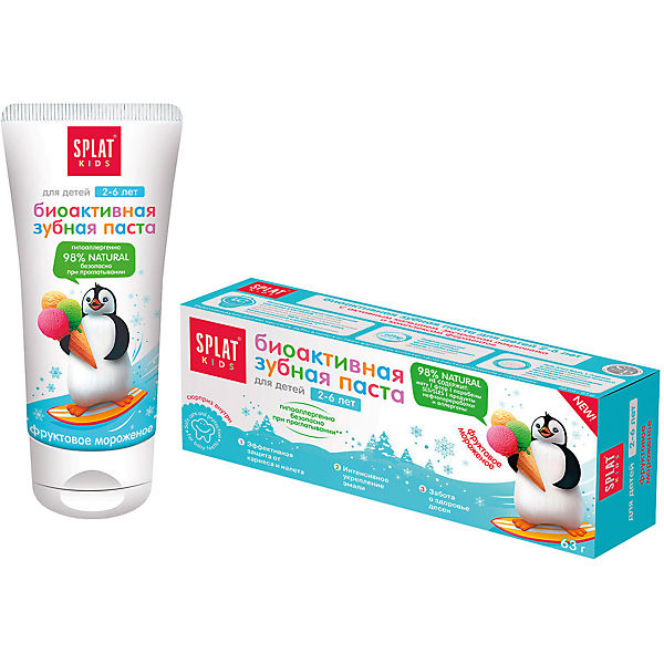 Натуральная зубная паста для детей от 2 до 6 лет, Splat Kids, фруктовое мороженое
