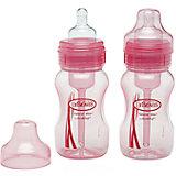 Набор из 2-х бутылочек с широким горлышком 240 мл, полипропилен, Dr. Brown, розовый